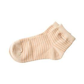 舒適短襪24-27條紋棕
